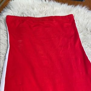 White stripped red tube top dress